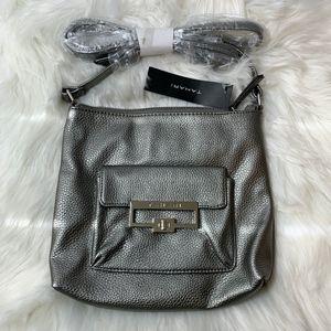 Tahari Pewter Leather Mini Gambler Crossbody Bag